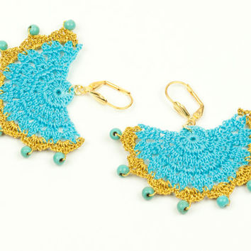 Turquoise & Gold Lace Earrings – Turquoise Stones- Statement - Chandelier - Geometric - Fiber Art Jewelry – Lightweight