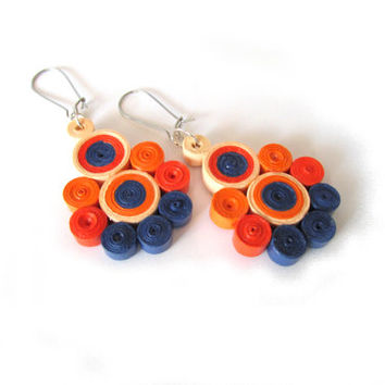 Quilled Paper Earrings in Celosia Orange and Blue, Quilled Paper Dangle Earrings, Dangle Earrings with Quilled Elements, Quilling Jewelry