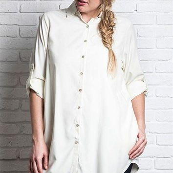 Plus Size Everyday Collared Button-up Tunic