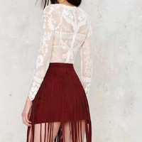 Nasty Gal Good Swings Come Suede Skirt