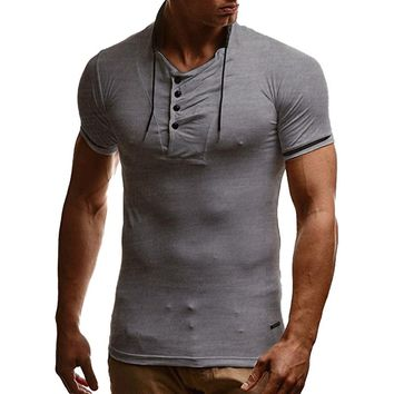 2018 Summer T shirt Men Tshirt Homme Mens Solid Short Sleeve V Neck
