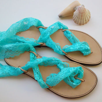 leather sandals with turquoise lace straps, bridal shoes, wedding sandals,  bridesmaids gift