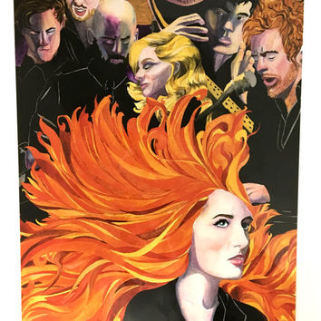 Florence and The Machine Band Poster, Music Band Poster Art Print, Florence Welch Art Print, Florence and the Machine Painting Wall Decor