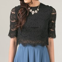Sincerely Yours Black Lace Crop Top