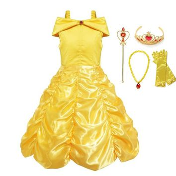 VOGUEON Girls Princess Belle Dress up Clothes Sleeveless Beauty and The Beast Party Cosplay Costume Children Birthday Ball Gown