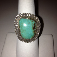 Navajo Turquoise Ring Sz 8 Sterling Silver Fred Harvey Era Old Dead Pawn 925 Cocktail Southwestern Vintage Jewelry Birthday Valentine's Gift