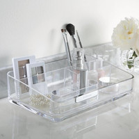 U.S. Acrylic Signature Collection   Large Makeup Organizer with Removable Compartment