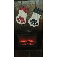 Dog Paw and Cat Paw Christmas Stockings +Led Light Up Dog Pet Night Safety Bright Flashing Adjustable Nylon Collar FOR FREE