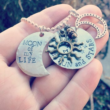 Moon of my life, my sun and stars, game of thrones inspired necklace