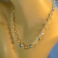 1950s AB Crystal Bridal Necklace with Rhinestone Clasp - Rainbow Sparkle, Mad Men Necklace