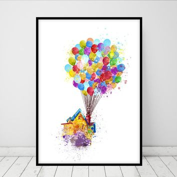 Up print -  Watercolour Poster - Print - Watercolor Print - Kids Decor - Gift - Watercolor - 285