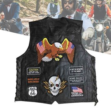 Trendy Genuine Leather Motorcycle Vest Men Punk Retro Classic Style 14/23/42 Patches Motorcycle Jacket Biker Club Casual Vest Clothing AT_94_13