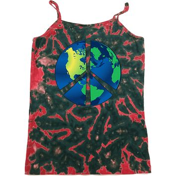 Ladies Peace Sign Tank Top Blue Earth Tie Dye Camisole
