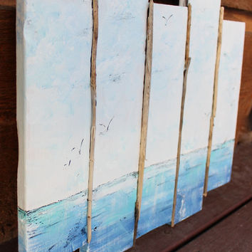 Sea Scape Original Plank Painting Wall Art with driftwood  for the Beach House / Nautical Home Decor