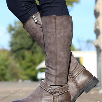 Zippy Riding Boots {Grey/Brown}