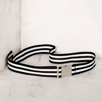 Britt Black and White Striped Belt