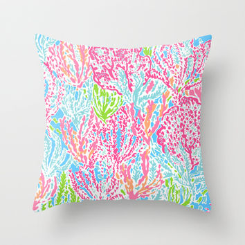 Lets Cha-Cha (Lilly Pulitzer style) Throw Pillow by uramarinka