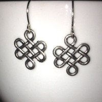 SALE: Silver Celtic Knot Charm Earrings