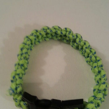 neon green / blue paracord parachute cord 550/325 bracelet with survival buckle or regular buckle
