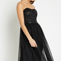 Black Mod Sequin Strapless Dress