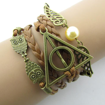 Fashion Charm  Hand-Woven Harry Potter Hallows Wings   Bracelets Vintage Multilayer Braided