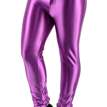BadAssLeggings Women's Shiny Disco Pants Medium Purple