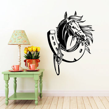 Horse Wall Decal Horseshoe Decals Wall Vinyl Sticker Interior Home Decor Family Art Wall Decor Bedroom Bathroom Mural SV5865