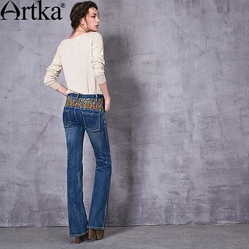 Artka Women's 2017 Spring Ethnic Embroidery Flare Pants Vintage Mid-waist Slim Fit Full Length Jeans With Pockets KN10975C