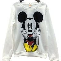 2018 Long-Sleeved Pullovers Mickey Hoodies O-neck Character Printed Red White Kawaii Style  sweatshirt for women