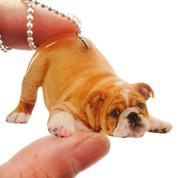 Realistic Bulldog Puppy Dog in Playful Pose Shaped Pendant Necklace | Handmade