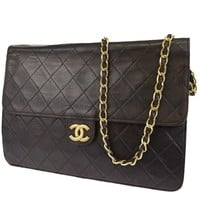 Auth CHANEL CC Logos Quilted Chain Shoulder Bag Leather Brown Vintage 76L397