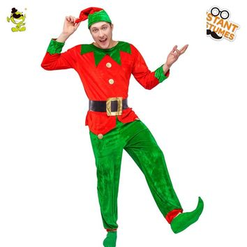 Adult Men's Elf Costume Halloween Clothes Suit Red And Green Elf Cosplay Fancy Elf Costumes Spread Cheer  For Christmas Holiday