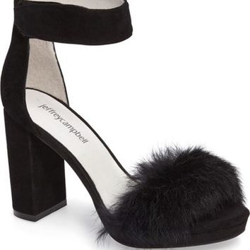 Jeffrey Campbell Lindsay Genuine Rabbit Fur Sandal (Women) | Nordstrom