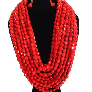 Beads Layered Necklace Set - Coral Color