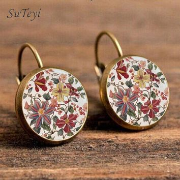 SUTEYI Charm Henna Yoga Amulet Earrings For Women Glass Cabochon Earring Jewelry Mandala Symbol Zen Buddhism  Earings