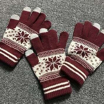 Fashion Retro Snowflake Knit Glove Touch Screen Glove For Christmas Gift