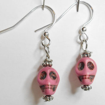 Skull Light Pink Howlite Turquoise Carved Earrings