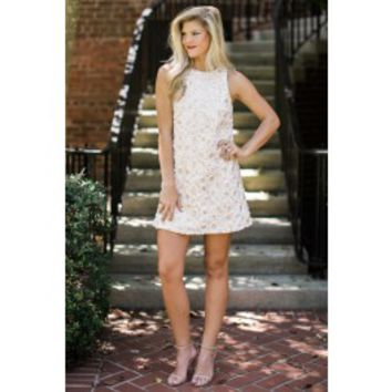 Evening In Bloom Cream Shift Dress