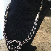 Pink and Black Knot Necklace - Blushy Knot Necklace - Multistrand Combination Beeds