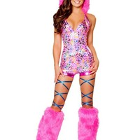 Metallic Rainbow Dots Romper with Fur Trimmed Hood : Cute Furry Rave Costumes
