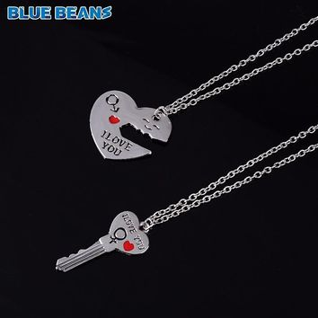 2Pcs/Set Romantic Couple Necklaces Engrave I Love You Love Heart&Key Pendants Means Forever Together Silver Color Chain Collares