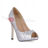 Shining Sliver Stiletto Heels Peep Toe Prom/Evening Shoes