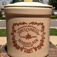 Huge Gallon Sized Vintage English Brown Transferware Marmalade Crock Jam Jar Transferware Advertising James Carberry