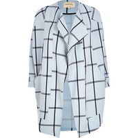 Light blue check oversized waterfall coat - coats - coats / jackets - women