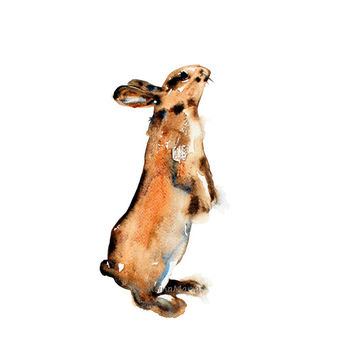 Bunny rabbit,  animal art reproduction,watercolor painting art  print.