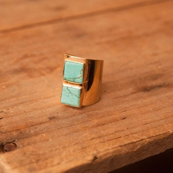 Double Square Turquoise RIng
