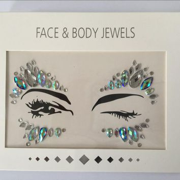 2017 Acrylic Resin Drill Stick Bindi Sticker Handpicked Bohemia And Tribal Style Face And Eye Jewels Forehead Decor Sticker