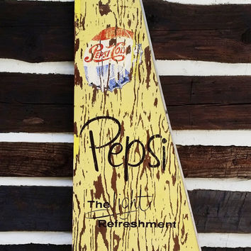 Vintage Pepsi Cola Sign, Wooden Advertisement; Rustic Industrial Advertising