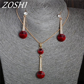 ZOSHI Fashion Austria Crystal Round Drop Earrings for Women Pendant Necklace Jewelry Sets Classic Wedding Jewelry Hot Sale