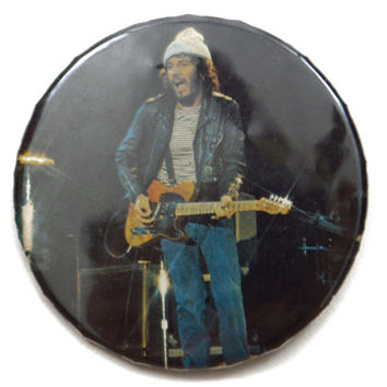 Vintage 70s Bruce Springsteen Big Glossy Pinback Button Pin Badge